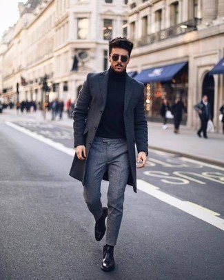How to Wear Black Leather Desert Boots: A charcoal overcoat looks especially polished when combined with grey dress pants. Introduce black leather desert boots to the equation to instantly boost the street cred of your outfit.