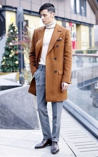 Brown Polka Dot Pocket Square Outfits: Such items as a tobacco overcoat and a brown polka dot pocket square are an easy way to infuse effortless cool into your casual fashion mix. To introduce a bit of fanciness to your outfit, add a pair of dark purple leather oxford shoes to this ensemble.