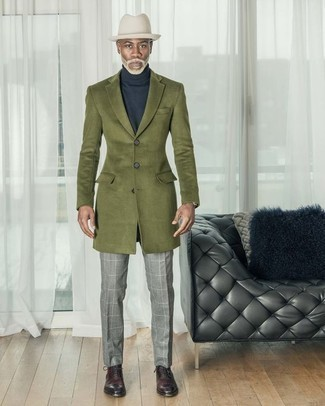 Olive Overcoat Outfits: Consider wearing an olive overcoat and grey check dress pants for a stylish and polished look. For maximum impact, complete this outfit with burgundy leather oxford shoes.