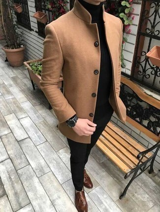 Men's Outfits 2020: This pairing of a camel overcoat and black dress pants will add manly essence to your outfit. For a more casual touch, introduce a pair of brown leather tassel loafers to the mix.