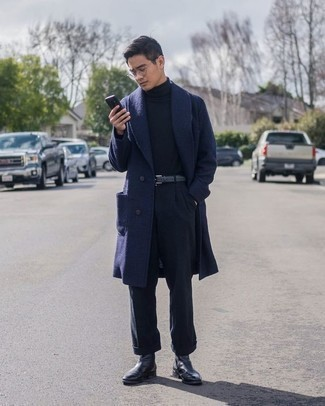 Navy Dress Pants Outfits For Men: A navy overcoat looks so classy when teamed with navy dress pants in a modern man's getup. Complement this outfit with black leather chelsea boots to inject a dose of stylish effortlessness into your look.
