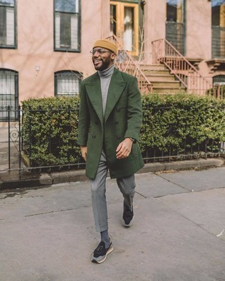 Athletic Shoes with Dress Pants Outfits For Men: Combining a dark green overcoat with dress pants is an on-point idea for a sharp and classy ensemble. Finishing with a pair of athletic shoes is an effective way to infuse an air of stylish effortlessness into your outfit.