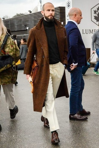 Tobacco Leather Zip Pouch Outfits For Men: This contemporary pairing of a brown overcoat and a tobacco leather zip pouch is very easy to throw together in no time, helping you look amazing and prepared for anything without spending too much time combing through your closet. You can take a classic approach with shoes and introduce dark brown leather oxford shoes to the equation.