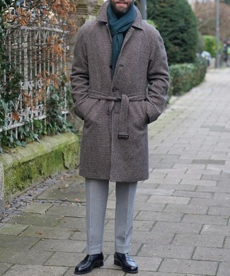 Black Leather Loafers Outfits For Men: When it comes to timeless polished style, this combo of a dark brown houndstooth overcoat and grey dress pants doesn't disappoint. The whole getup comes together when you complete this getup with a pair of black leather loafers.