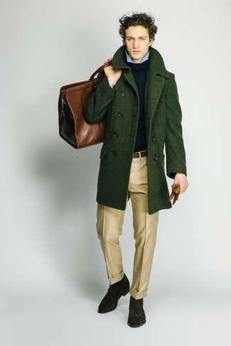 Men's Looks & Outfits: What To Wear In 2020: You'll be amazed at how extremely easy it is to get dressed this way. Just a dark green overcoat and khaki dress pants. Amp up this whole ensemble by finishing off with a pair of dark green suede desert boots.