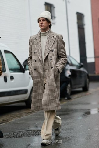 How to wear: beige plaid overcoat, beige turtleneck, beige corduroy jeans, grey suede athletic shoes