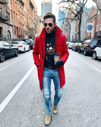 How to wear: red overcoat, navy print turtleneck, blue jeans, beige suede chelsea boots