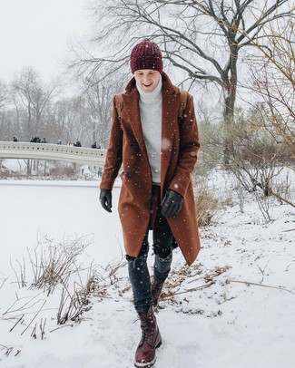Men's Tobacco Overcoat, White Knit Turtleneck, Black Jeans, Burgundy Leather Casual Boots