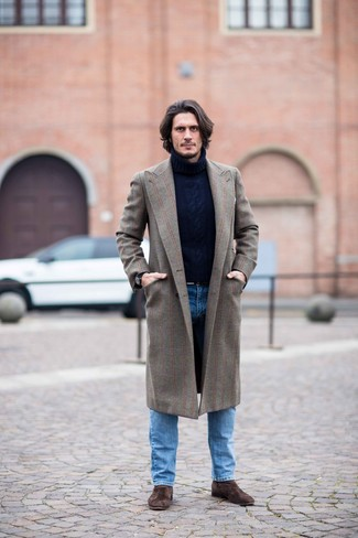 How to wear: brown overcoat, navy knit wool turtleneck, blue jeans, dark brown suede chelsea boots