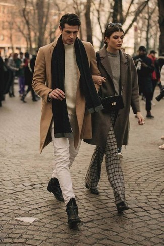 How to Wear a Black Scarf For Men: Rock a camel overcoat with a black scarf for comfort dressing with an edgy take. Go the extra mile and shake up your getup by sporting black leather chelsea boots.