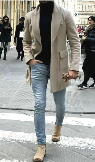 Beige Suede Shoes with Light Blue Jeans
