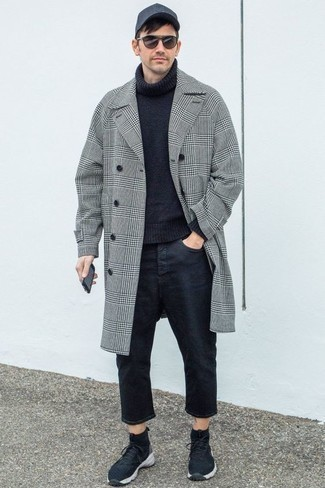 How To Wear an Overcoat With Jeans: One of the smartest ways for a man to style such a functional piece as an overcoat is to wear it with jeans. Make your look more current by rounding off with a pair of navy athletic shoes.
