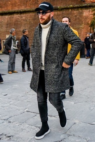 Charcoal Jeans Outfits For Men: This combination of a charcoal overcoat and charcoal jeans is definitely eye-catching, but it's extremely easy to copy too. Black canvas high top sneakers can immediately dress down an all-too-classic look.