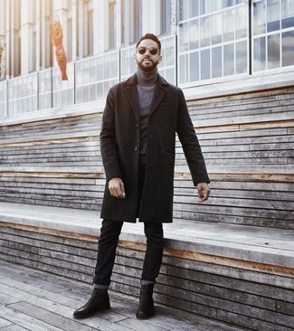 Men's Looks & Outfits: What To Wear In 2020: A charcoal plaid overcoat and black jeans are the ideal way to introduce a sense of manly refinement into your daily casual arsenal. Black leather chelsea boots are a simple way to transform this ensemble.