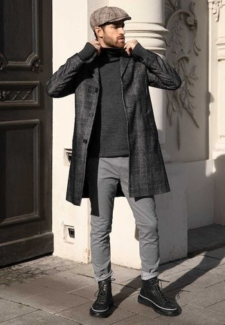 How to Wear a Coat For Men: This semi-casual combination of a coat and grey jeans is very easy to pull together in no time flat, helping you look dapper and ready for anything without spending too much time rummaging through your closet. Balance out your look with a classier kind of shoes, like these black leather casual boots.