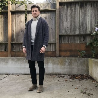 Grey Wool Turtleneck Outfits For Men: Combining a grey wool turtleneck with black jeans is a wonderful option for a laid-back but stylish outfit. If you want to feel a bit fancier now, add grey suede chelsea boots to this ensemble.