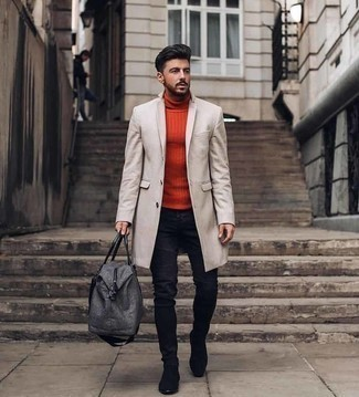 Men's Outfits 2020: For an outfit that's worthy of a modern stylish gent and effortlessly smart, opt for a beige overcoat and navy jeans. For something more on the classier end to finish this look, choose a pair of black suede chelsea boots.