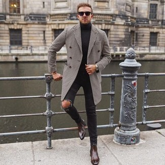 Men's Outfits 2020: Such items as a white and black houndstooth overcoat and charcoal ripped jeans are an easy way to inject understated dapperness into your casual rotation. Dark brown leather chelsea boots will dress up any look.