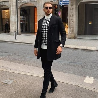 Men's Outfits 2020: This pairing of a black overcoat and a white and black print turtleneck is an interesting balance between dressy and off-duty.