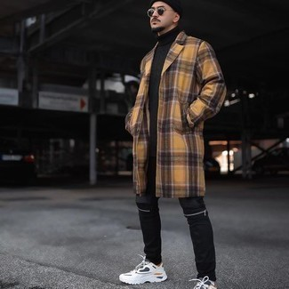 Black Jeans Spring Outfits For Men: For a casually neat getup, rock a yellow plaid overcoat with black jeans — these two pieces play beautifully together. Add a more casual twist to with white athletic shoes. So if you're after an outfit that's stylish but also entirely spring-ready, you found it.