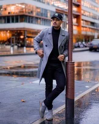 Black Watch Chill Weather Outfits For Men: The combination of a grey overcoat and a black watch makes for a solid laid-back getup. Grey suede chelsea boots are a fail-safe way to give an added dose of style to this ensemble.