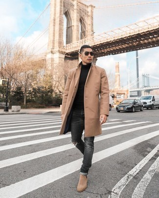Tan Suede Chelsea Boots Casual Cold Weather Outfits For Men: Marry a camel overcoat with charcoal ripped jeans for a casual level of dress. A trendy pair of tan suede chelsea boots is the simplest way to power up this ensemble.