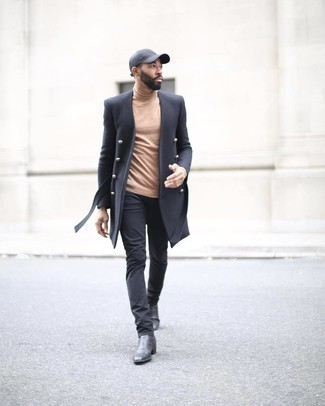 Charcoal Baseball Cap Outfits For Men: If you feel more confident in functional clothes, you'll love this laid-back pairing of a black overcoat and a charcoal baseball cap. If you need to effortlessly step up your look with footwear, complete your outfit with a pair of black leather chelsea boots.