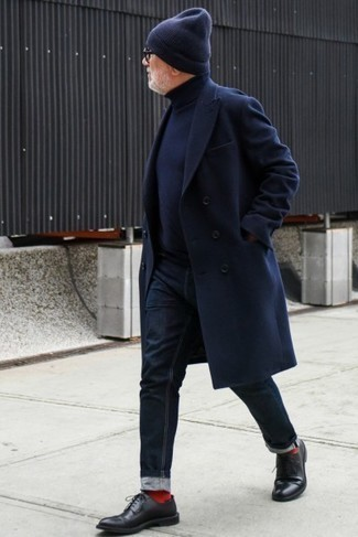 Navy Turtleneck Outfits For Men: Why not wear a navy turtleneck and navy jeans? As well as very functional, these two pieces look nice when paired together. And if you need to instantly dial up your look with one piece, why not complement your getup with black leather derby shoes?