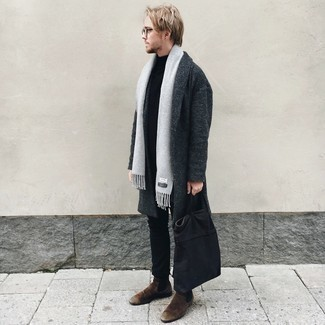 Grey Scarf Outfits For Men: When the situation permits casual urban style, pair a charcoal overcoat with a grey scarf. To give your overall look a more refined aesthetic, introduce a pair of dark brown suede chelsea boots to the mix.
