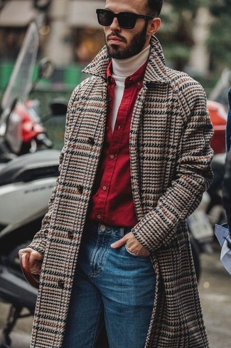 How to wear: brown herringbone overcoat, white turtleneck, red long sleeve shirt, blue jeans