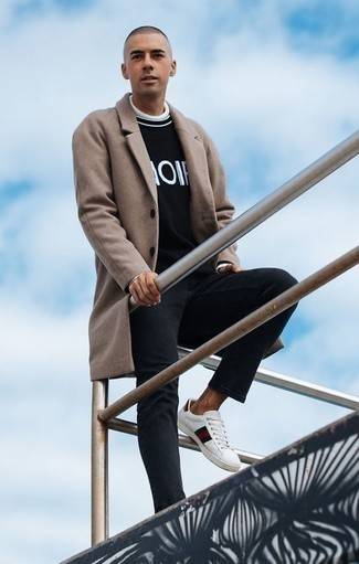 How to Wear White Print Leather Low Top Sneakers For Men: Breathe effortless refinement into your current collection with a camel overcoat and black jeans. To bring out the fun side of you, add white print leather low top sneakers to this look.