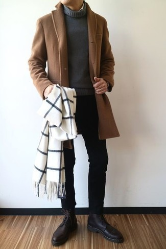 How to wear: brown overcoat, charcoal turtleneck, black skinny jeans, black leather dress boots