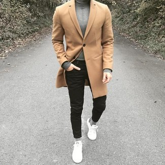 How to wear: camel overcoat, grey turtleneck, black skinny jeans, white leather low top sneakers