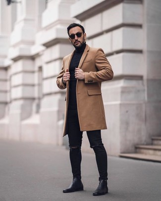 How to wear: camel overcoat, black turtleneck, black ripped skinny jeans, black leather chelsea boots