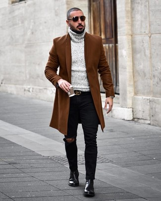 How to wear: brown overcoat, grey knit turtleneck, black ripped skinny jeans, black leather chelsea boots