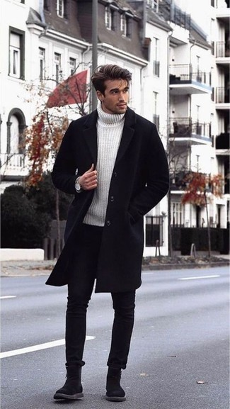 Black Jeans Spring Outfits For Men: When the situation permits a relaxed outfit, pair a black overcoat with black jeans. And if you wish to effortlessly up this getup with shoes, why not add black suede chelsea boots to the mix? Keep this outfit in your head when warmer days are here, and we guarantee you'll save a lot of time getting ready on more than one morning.