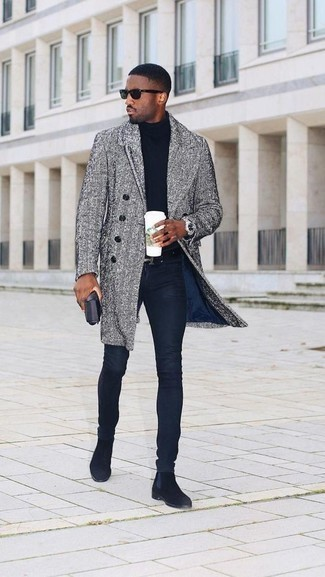 How to Wear Navy Skinny Jeans For Men: This casual pairing of a grey herringbone overcoat and navy skinny jeans is a surefire option when you need to look great in a flash. A pair of black suede chelsea boots immediately amps up the wow factor of your look.