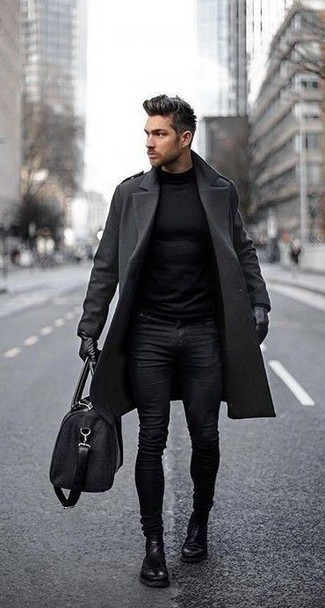 How to Wear Gloves For Men: A charcoal overcoat and gloves are an off-duty combination that every modern guy should have in his wardrobe. For maximum impact, complete your outfit with a pair of black leather chelsea boots.