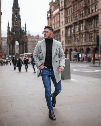 Black Leather Double Monks Outfits: The best choice for kick-ass casual style for men? A grey overcoat with blue ripped skinny jeans. Bump up the formality of this outfit a bit by slipping into black leather double monks.