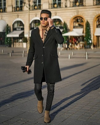 Black Leather Gloves Outfits For Men: Inject a laid-back touch into your daily lineup with a black overcoat and black leather gloves. Introduce a pair of brown suede chelsea boots to the equation for an instant style upgrade.
