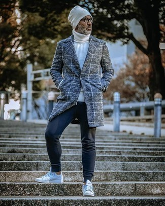 White Beanie Outfits For Men: This urban combination of a charcoal plaid overcoat and a white beanie is extremely versatile and up for whatever's on your itinerary today. To bring a bit of flair to your ensemble, add a pair of white canvas low top sneakers to the mix.