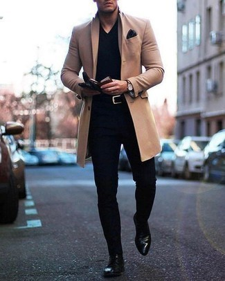 How to Wear Boots For Men: As you can see, looking casually classic doesn't require that much effort. Just wear a camel overcoat with black chinos and be sure you'll look awesome. Boots are a welcome complement for your outfit.