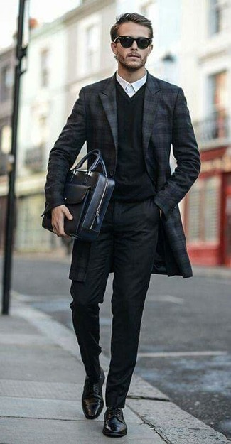 9419f35c5e6 How to Wear a Black V-neck Sweater For Men (45 looks   outfits ...