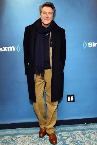 How to wear: black overcoat, navy v-neck sweater, light blue dress shirt, khaki corduroy dress pants