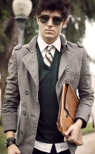 How to wear: grey overcoat, dark green v-neck sweater, white dress shirt, brown leather briefcase