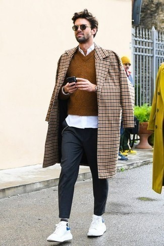 How to Wear White Leather Low Top Sneakers For Men: A beige check overcoat and charcoal chinos are strong players in any gentleman's wardrobe. White leather low top sneakers can easily dial down a classic look.