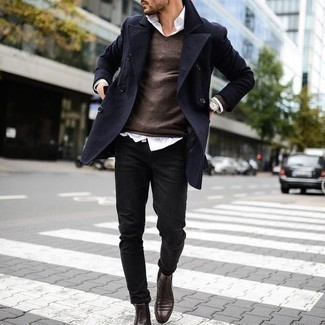 How To Wear Black Jeans With Dark Brown Leather Boots For Men: This combo of a navy overcoat and black jeans is a must-try casually classic ensemble for any modern gentleman. Introduce dark brown leather boots to this look and ta-da: the outfit is complete.