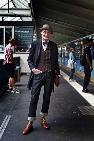 Overcoat waistcoat dress shirt jeans brogue boots briefcase hat bow tie belt large 13312