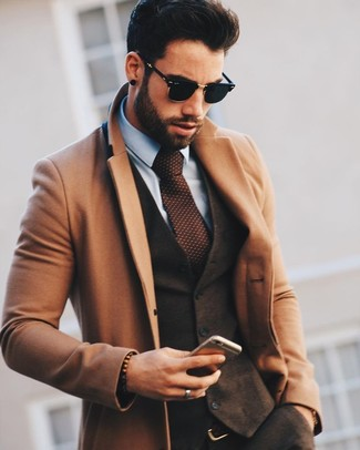 How to wear: camel overcoat, dark brown wool waistcoat, light blue dress shirt, dark brown wool dress pants