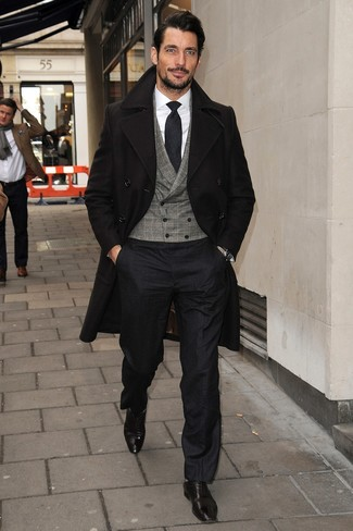 How to wear: black overcoat, grey check waistcoat, white dress shirt, black dress pants